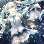 1girl aka_tonbo_(lililil) aqua_eyes aqua_hair cowboy_shot detached_sleeves dutch_angle floating_hair hair_ribbon hatsune_miku long_hair necktie night open_mouth outdoors ribbon scarf skirt snowflakes snowing solo thigh-highs twintails very_long_hair vocaloid