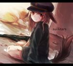 1girl animal_ears bangs black_hat black_jacket blood blood_on_face brown_hair closed_mouth commentary_request dutch_angle foomi gun hair_between_eyes hat jacket jacket_on_shoulders long_hair looking_at_viewer looking_to_the_side military_hat on_ground original oversized_clothes red_eyes sitting solo tail wariza weapon