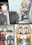 1boy 4girls armor black_hair blonde_hair blue_eyes blush brown_hair chaldea_combat_uniform comic covering_mouth faceless faceless_male fate/grand_order fate_(series) fujimaru_ritsuka_(male) ginhaha headgear jeanne_d'arc_(alter)_(fate) jeanne_d'arc_(fate) jeanne_d'arc_(fate)_(all) jeanne_d'arc_alter_santa_lily leonardo_da_vinci_(fate/grand_order) multiple_girls shaking_head silent_comic staff sweatdrop white_hair