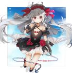 1girl azur_lane bangs bare_shoulders bat_wings black_dress black_footwear black_gloves blue_sky bow bridal_veil chains closed_mouth clouds collarbone commentary_request criss-cross_halter dress elbow_gloves eyebrows_visible_through_hair finger_to_mouth flower full_body gloves grey_wings hair_between_eyes hair_bow hair_flower hair_ornament halterneck highres himemiya_shuang long_hair looking_at_viewer metal_wings red_bow red_eyes red_ribbon ribbon shoes silver_hair sky smile solo vampire_(azur_lane) veil very_long_hair wings