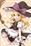 >:d 1girl :d apron bamboo_broom bangs black_footwear blonde_hair blush braid broom broom_riding eyebrows_visible_through_hair hat highres kirisame_marisa long_hair looking_at_viewer mary_janes open_mouth puffy_short_sleeves puffy_sleeves ruu_(tksymkw) shoes short_sleeves side_braid single_braid skirt skirt_set smile socks solo star touhou turtleneck v-shaped_eyebrows vest waist_apron witch_hat yellow_eyes ze_(phrase)