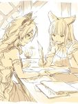 2girls animal_ears book braid breasts cat_ears commentary_request erun_(granblue_fantasy) granblue_fantasy hair_tubes heles hoshikuzushi korwa lantern large_breasts long_hair multiple_girls notebook paper quill sepia single_braid sitting table working writing