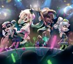 aori_(splatoon) cephalopod_eyes cousins crop_top cropped_vest crown dark_skin detached_collar domino_mask dress gonzarez green_legwear highres hime_(splatoon) hotaru_(splatoon) iida_(splatoon) long_hair makeup mascara mask mole mole_under_eye mole_under_mouth multicolored multicolored_skin navel_piercing octarian pantyhose pantyhose_under_shorts piercing pink_pupils pointy_ears short_jumpsuit splatoon splatoon_1 splatoon_2 strapless strapless_dress suction_cups tentacle_hair zipper zipper_pull_tab