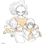1boy 2girls android_18 artist_name bald belt blush boots carrying couple cowboy_shot dougi dragon_ball dragon_ball_super dragonball_z dress earrings embarrassed expressionless eyelashes family father_and_daughter fingernails floating_hair frown full_body hands_on_own_face hetero highres jewelry kuririn long_sleeves looking_at_another looking_away marron monochrome mother_and_daughter multiple_girls navel orange_(color) outstretched_arms pants sandals short_hair simple_background smile sweatdrop tkgsize twintails upper_body white white_background wristband