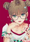 1girl black-framed_eyewear brown_hair candy collarbone dangmill double_bun earrings food glasses jewelry konpeitou looking_at_viewer mole nail_polish original red_background ring rubik's_cube semi-rimless_eyewear short_hair solo under-rim_eyewear