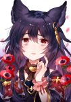 1girl bags_under_eyes black_hair earrings erun_(granblue_fantasy) eyebrows_visible_through_hair flower frills granblue_fantasy jewelry long_hair myusha open_mouth red_eyes scratching_cheek white_background