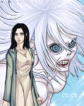 2girls black_hair blue_eyes floating_hair frieda_reiss highres light_smile looking_at_viewer multiple_girls open_eyes shingeki_no_kyojin simple_background smile titan_(shingeki_no_kyojin) white_hair