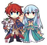 1boy 1girl artist_request blue_eyes blue_hair cape chibi dress eliwood_(fire_emblem) fire_emblem fire_emblem:_rekka_no_ken fire_emblem_heroes flower hair_ornament long_hair looking_at_viewer lowres mamkute ninian red_eyes redhead short_hair smile