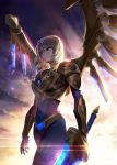 1girl aether_wing_kayle alternate_costume armor blonde_hair bodysuit breastplate covered_navel gloves glowing gold green_eyes ha2go halo highres holding holding_sword holding_weapon jewelry kayle league_of_legends long_hair mechanical_wings mole mole_under_eye necklace outdoors shoulder_armor solo sunset sword walking weapon wind wings