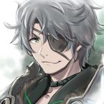 1boy eyepatch gloves looking_at_viewer male_focus short_hair sieg_b_goku_genbu silver_hair smile solo xenoblade xenoblade_2 yazwo