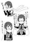 comic double-breasted elbow_gloves empty_eyes fingerless_gloves gloves hair_ornament highres kantai_collection mitsuyanabe_(carp_sandaime) monochrome neckerchief remodel_(kantai_collection) scarf school_uniform sendai_(kantai_collection) serafuku translation_request two_side_up