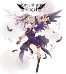 1girl angel_wings ascot asymmetrical_wings bare_shoulders black_bow blush boots bow detached_sleeve dress drill_hair feathered_wings feathers flower frills hair_bow hair_flower hair_ornament halterneck idolmaster idolmaster_cinderella_girls inzup kanzaki_ranko long_hair open_mouth outstretched_arm purple_dress red_eyes rose rosenburg_engel scepter silver_hair single_sleeve sleeveless sleeveless_dress solo sparkle thigh_strap twin_drills twintails wand wings wristband