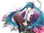 1girl aqua_eyes aqua_hair boots detached_sleeves flower full_body hatsune_miku headphones headset high_heels kashiwaba_en long_hair looking_at_viewer necktie pigeon-toed sitting skirt solo spring_onion staff_(music) thigh-highs thigh_boots twintails very_long_hair vocaloid