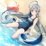1girl ball barefoot beach beachball blue_swimsuit comah flat_chest green_eyes grey_eyes grey_hair hair_between_eyes highres kantai_collection kiyoshimo_(kantai_collection) long_hair looking_at_viewer low_twintails name_tag school_swimsuit sitting smile solo swimsuit twintails very_long_hair wariza waves
