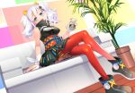 1girl blue_eyes blurry breasts cleavage cleavage_cutout couch depth_of_field dress full_body hair_ornament highres indoors kaguya_luna kaguya_luna_(character) looking_at_viewer medium_breasts obi on_couch open_mouth plant potted_plant sash shiro_ami silver_hair sitting sleeveless sleeveless_dress smile solo strong_zero teeth thigh-highs twintails wooden_floor zettai_ryouiki
