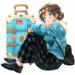 backpack bag bangs black_footwear black_pants blue_eyes blue_jacket brown_hair casual closed_mouth eyebrows_visible_through_hair from_side full_body hand_on_own_arm hood hood_down jacket kinugasa_yuuichi knees_up lips long_sleeves looking_at_viewer looking_to_the_side no_socks open_clothes open_jacket original pants plaid plaid_pants rolling_suitcase shiny shiny_hair shoes short_hair simple_background sitting smile tareme unbuttoned white_background