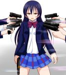 bangs blazer blood blue_hair blush bow bowtie cowboy_shot gun hair_between_eyes handgun holding holding_gun holding_weapon jacket long_hair long_sleeves looking_at_viewer love_live! love_live!_school_idol_project multiple_girls open_clothes otonokizaka_school_uniform parody pistol plaid plaid_skirt pleated_skirt red_neckwear school_uniform shirt skirt solo_focus sonoda_umi striped_neckwear weapon wewe white_shirt yellow_eyes
