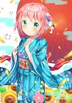 1girl absurdres blue_eyes blush day droplets floral_print flower hair_ornament highres japanese_clothes kimono looking_at_viewer original outdoors over_shoulders parasol pink_hair short_hair smile solo standing sunflower torokeru_none umbrella