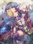 1girl bag belt blonde_hair blouse blue_flower blue_rose boots cloak commentary_request cross-laced_footwear fire flower frilled_skirt frilled_sleeves frills granblue_fantasy hair_over_one_eye handbag hood hooded_cloak idolmaster idolmaster_cinderella_girls knee_boots miniskirt parted_lips red_eyes rose shirasaka_koume short_hair sitting skirt skull sleeves_past_fingers sleeves_past_wrists smile solo taremayu_(kikai_tomato) thigh-highs tombstone zettai_ryouiki