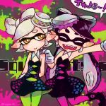 2girls :> :d aori_(splatoon) arms_behind_back bare_shoulders black_dress black_footwear black_hair blush boots bright_pupils closed_eyes closed_mouth cousins cowboy_shot detached_collar domino_mask dress earrings fangs food food_on_head gloves green_legwear hair_rings half-closed_eyes hand_on_another's_shoulder hotaru_(splatoon) jewelry leg_up long_hair mask mole mole_under_eye multiple_girls no_nose object_on_head open_mouth orange_eyes outstretched_arm pantyhose pointy_ears purple_legwear short_hair smile speech_bubble splatoon splatoon_1 standing standing_on_one_leg strapless strapless_dress suction_cups sunagimo_(nagimo) teeth tentacle_hair thick_eyebrows thigh_gap twitter_username unitard white_gloves white_hair