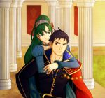 1boy 1girl blue_hair carrying european_clothes fire_emblem fire_emblem:_rekka_no_ken fire_emblem_heroes green_hair hector_(fire_emblem) highres lyndis_(fire_emblem) piggyback pillar smile
