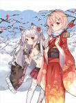 2girls alternate_costume animal_ears azur_lane black_ribbon blonde_hair commentary_request crossover ema hair_flaps hair_ornament hair_ribbon hairclip highres japanese_clothes kantai_collection kimono long_hair multiple_girls namesake obi red_eyes remodel_(kantai_collection) ribbon sash scarlet_dango white_hair yukata yuudachi_(azur_lane) yuudachi_(kantai_collection)