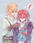 1boy 1girl aruba blonde_hair blush breasts cold fins fish_girl hair_ornament jacket jewelry link long_hair mipha monster_girl multicolored multicolored_skin no_eyebrows pointy_ears red_skin redhead snow the_legend_of_zelda the_legend_of_zelda:_breath_of_the_wild yellow_eyes zora