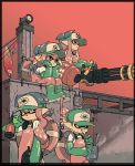 2boys 2girls baseball_cap boots domino_mask dual_wielding elbow_gloves gatling_gun gloves green_gloves hat highres inkling mask multiple_boys multiple_girls red_eyes redhead rubber_boots simple_background sitting splatoon splatoon_2 tarou2 tentacle_hair weapon_request