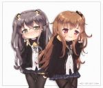 2girls :d arm_up bangs belt_buckle black_belt black_bow black_gloves black_hoodie black_legwear black_ribbon black_skirt blue_skirt blush bow brown_hair buckle closed_mouth copyright_name dress_shirt eyebrows_visible_through_hair fingerless_gloves foreign_blue girls_frontline gloves hair_between_eyes hair_bow hair_ornament hairclip hand_up head_tilt highres hood hood_down hoodie long_hair long_sleeves looking_at_viewer multiple_girls nose_blush one_side_up open_clothes open_hoodie open_mouth pantyhose pleated_skirt red_eyes ribbon scar scar_across_eye shirt skirt sleeves_past_wrists smile twintails ump45_(girls_frontline) ump9_(girls_frontline) upper_teeth v very_long_hair white_shirt yellow_eyes