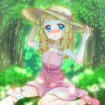 1girl adjusting_headwear blue_eyes blurry blurry_background blush bow dress foot_out_of_frame forest hat hat_bow highres medium_hair nature open_mouth outdoors pink_bow pink_dress pink_footwear pokeball_symbol pokemon pokemon_(anime) serena_(pokemon) shirokoro solo sun_hat tears