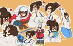 1girl alternate_costume black-framed_eyewear blush breasts brown_eyes brown_hair casual coat collage crying cup drone ecopoint_mei english fur_hat glasses gloves hair_bun hair_ornament hair_stick hat highres hot_chocolate kathleen_lim large_breasts mei_(overwatch) mug off-shoulder_sweater overwatch pants short_hair smile snowball_(overwatch) stretch sweater tank_top waking_up winter_clothes winter_coat yawning yoga_pants
