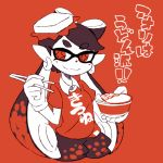 +_+ 1girl alternate_costume aori_(splatoon) black_hair bowl chopsticks closed_mouth clothes_writing domino_mask earrings eyebrows eyebrows_visible_through_hair facing_away food food_on_head gloves hair_rings holding_chopsticks hoop_earrings jewelry kitsune_udon long_hair looking_away looking_to_the_side mask object_on_head pointy_ears puffy_shorts red_background shirt short_sleeves shorts simple_background smile solo splatoon splatoon_1 suction_cups sunagimo_(nagimo) symbol-shaped_pupils t-shirt tentacle_hair udon