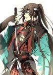 1boy black_hair blue_eyes fingerless_gloves gloves hachimaki headband highres izumi-no-kami_kanesada jacket japanese_clothes katana kiwame_(touken_ranbu) male_focus mitsudomoe_(shape) muku_(pixiv3207772) ponytail sheath shinsengumi solo sword tomoe_(symbol) touken_ranbu unsheathing weapon