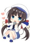 1girl :d absurdres ahoge beret blue_dress blue_eyes blue_footwear blush bobby_socks brown_hair chibi dress hat heart highres hinatsuru_ai holding holding_microphone ju_(a793391187) long_hair long_sleeves low_twintails microphone open_mouth puffy_short_sleeves puffy_sleeves ryuuou_no_oshigoto! school_uniform shoes short_over_long_sleeves short_sleeves sidelocks simple_background smile socks solo twintails very_long_hair white_background white_hat white_legwear