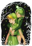 blonde_hair blue_eyes closed_eyes fairy green_hair hairband hat hug kokiri link magore997 pointy_ears saria smile the_legend_of_zelda the_legend_of_zelda:_ocarina_of_time young_link