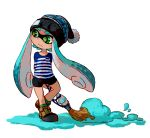 1girl beanie bike_shorts black_hat black_shorts blue_hair blush brown_footwear closed_mouth clothes_writing domino_mask eyebrows facing_viewer full_body green_eyes green_pupils hat holding horizontal-striped_shirt horizontal_stripes inkbrush_(splatoon) inkling inkling_(language) long_hair long_sleeves looking_away looking_to_the_side mask multicolored multicolored_shirt paint paintbrush pom_pom_(clothes) shirt shoes shorts simple_background solo splatoon splatoon_1 standing striped striped_shirt suction_cups sunagimo_(nagimo) white_background