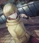 1boy angel31424 blonde_hair bowl_cut brick_road brown_eyes city dutch_angle enokida_(hakata_tonkotsu_ramens) hakata_tonkotsu_ramens hand_in_pocket hand_up hood hood_down hoodie looking_at_viewer male_focus outdoors railing river signature solo