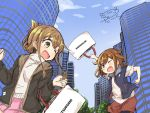 >:d 2girls blush brown_eyes brown_hair casual city commentary_request darkside day fang folded_ponytail ikazuchi_(kantai_collection) inazuma_(kantai_collection) jacket kantai_collection mitsukoshi_(department_store) multiple_girls one_eye_closed signature sketch sky