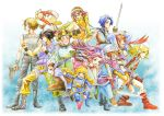 ana_(anarock) blush breasts chrono_trigger cleavage commentary_request copyright_request crossover dewprism dress fire_emblem gloves graphite_(medium) long_hair lucca_ashtear mint_(dewprism) multiple_boys multiple_girls riki_(saga) saga saga_frontier short_hair traditional_media watercolor_(medium)