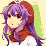 1girl commentary_request curly_hair dragon_quest dragon_quest_ii dress hood long_hair princess_of_moonbrook purple_hair solo touno_ako white_dress white_robe