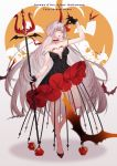 1girl bat black_dress black_gloves breasts character_name choker cleavage collarbone copyright_name dress eyebrows_visible_through_hair fate/grand_order fate_(series) floating_hair food fruit gloves hair_between_eyes head_tilt highres holding holding_fruit holding_weapon horns jeanne_alter jeanne_d'arc_(alter)_(fate) jeanne_d'arc_(fate)_(all) long_hair medium_breasts off_shoulder open_mouth polearm ruler_(fate/apocrypha) short_dress silver_hair sleeveless sleeveless_dress solo standing very_long_hair weapon yaoshi_jun yellow_eyes