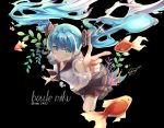 1girl artist_name black_background black_bow black_skirt blue_eyes blue_hair blush bottle_miku bow character_name eyebrows_visible_through_hair fish floating_hair goldfish hair_between_eyes hair_bow hatsune_miku hon_(neo2462) index_finger_raised liquid_hair long_hair looking_at_viewer miniskirt outstretched_arm pleated_skirt shirt short_sleeves simple_background skirt smile solo twintails very_long_hair vocaloid white_shirt