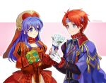 1boy 1girl 2900cm blue_eyes blue_hair blush cape closed_eyes couple dress fire_emblem fire_emblem:_fuuin_no_tsurugi fire_emblem_heroes gift gloves hat hetero jewelry lilina long_hair open_mouth redhead roy_(fire_emblem) short_hair simple_background smile