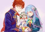 1girl artist_request blue_hair blush closed_eyes couple dress eliwood_(fire_emblem) fire_emblem fire_emblem:_rekka_no_ken fire_emblem_heroes flower gloves hair_ornament highres long_hair mamkute ninian red_eyes redhead short_hair smile