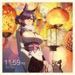 1girl alternate_hairstyle animal animal_ears artist_name atago_(azur_lane) azur_lane backlighting bell black_hair breasts chinese_new_year copyright_name covered_navel dog earrings enpera eyebrows_visible_through_hair hair_bell hair_between_eyes hair_ornament hair_ribbon highres japanese_clothes jewelry jingle_bell kimono lantern large_breasts light long_hair long_sleeves looking_at_viewer mole mole_under_eye obi own_hands_together pandea_work parted_lips red_ribbon ribbon sash scarf shiny shiny_hair smile solo stud_earrings underbust upper_body white_kimono white_scarf wide_sleeves
