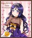 1girl bangs bare_shoulders body_blush border bow bracelet breasts brown_border brown_gloves character_name cleavage closed_mouth copyright_name dress elbow_gloves eyebrows_visible_through_hair finger_to_mouth frills gem gloves hair_ornament hairclip happy_birthday heart jewelry lips long_hair looking_at_viewer love_live! love_live!_sunshine!! matsuura_kanan medium_breasts necklace parted_bangs pearl_bracelet pearl_necklace pendant plaid plaid_dress polka_dot purple_hair purple_legwear ribbon ric_(fwpbox) rose_background see-through shiny shiny_hair signature smile solo sparkle star star_hair_ornament tareme twitter_username upper_body vertical-striped_gloves very_long_hair violet_eyes wavy_hair white_bow yellow_ribbon