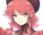 1girl beret cat_with_a_brush earrings flower green_eyes hat jewelry pyrrha_nikos redhead rose rwby smile solo