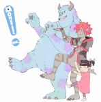 2boys 2girls alternate_form black_hair boo_(monsters_inc.) claws fingerless_gloves fur gloves hood hoodie horns james_p._sullivan kingdom_hearts kingdom_hearts_iii looking_to_the_side maryuumi monster monster_boy monsters_inc. multiple_boys multiple_girls open_clothes open_hoodie pointy_ears pose redhead smile sora_(kingdom_hearts) spiky_hair twintails yotsubato! yotsubato!_pose