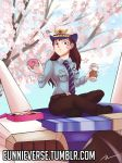 1girl brown_eyes brown_hair cherry_blossoms coffee coffee_cup d.va_(overwatch) doughnut eating eunnieverse food gloves hat legs_crossed long_hair mecha necktie officer_d.va overwatch pastry_box police police_hat police_uniform policewoman sitting solo uniform watermark web_address whisker_markings
