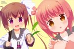 2girls absurdres bag bow brown_hair grass hair_bow highres holding ichinose_hana looking_at_viewer momochi_tamate multiple_girls official_art open_mouth orange_eyes outstretched_arm school_bag school_uniform slow_start smile violet_eyes